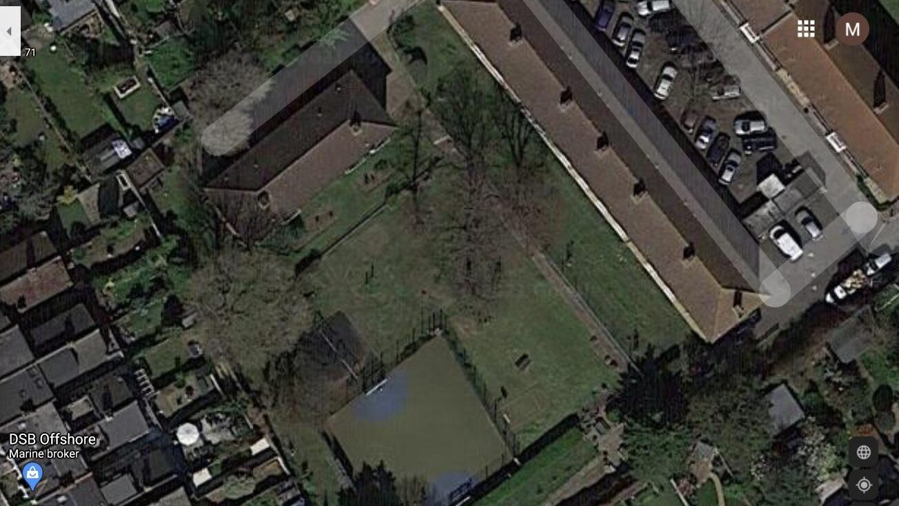 Aerial view of the grassed area behind Robert Owen House