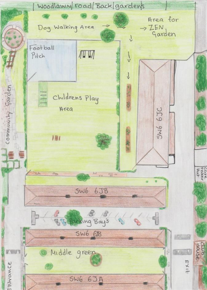 Hand-drawn top-down illustration of proposed improvements – including Zen garden, football pitch, children's play areas and community garden.
